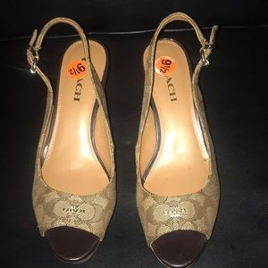 Coach Slingback Sandal Wedge Cork Shoes Size 91/2